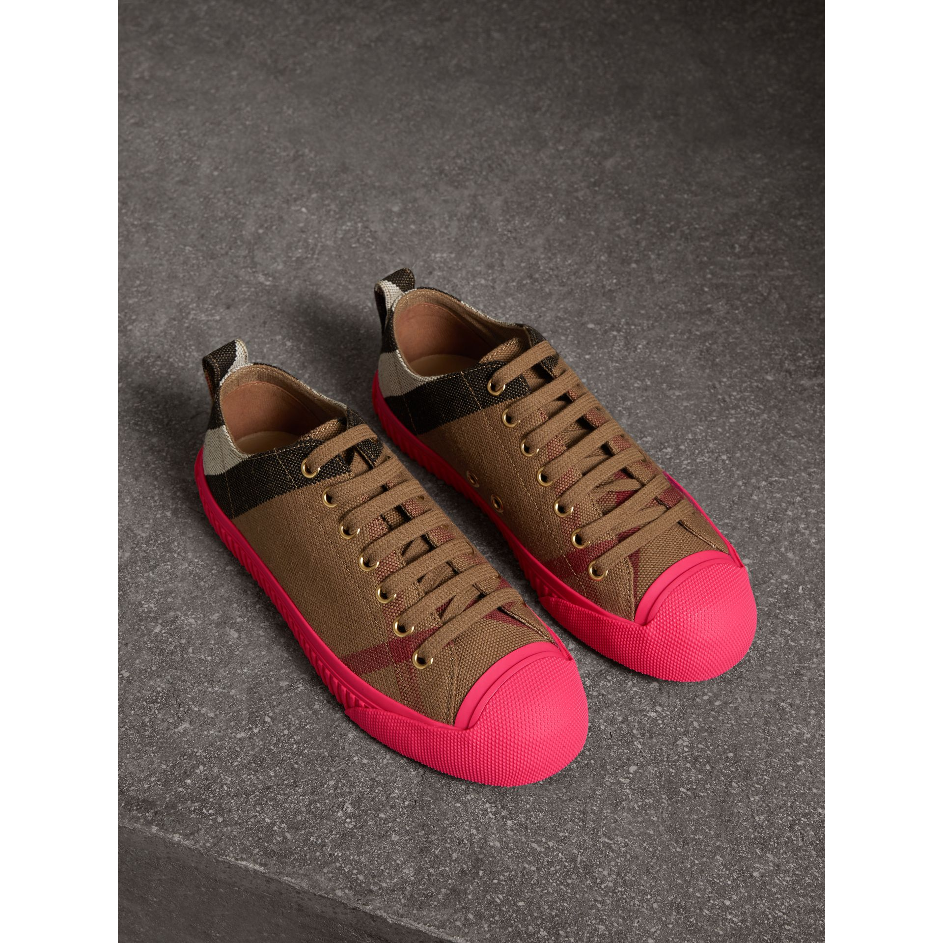 Canvas Check and Leather Trainers in Classic - Women | Burberry - gallery image 0