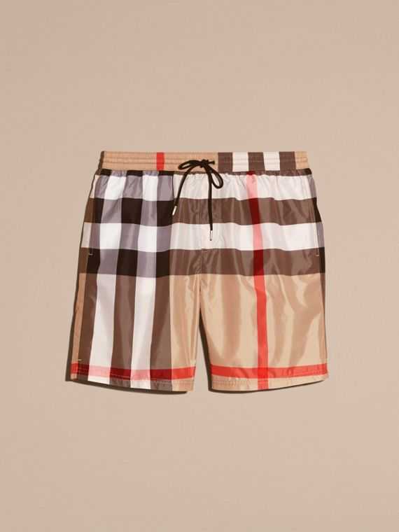 Check Swim Shorts in Camel - Men | Burberry