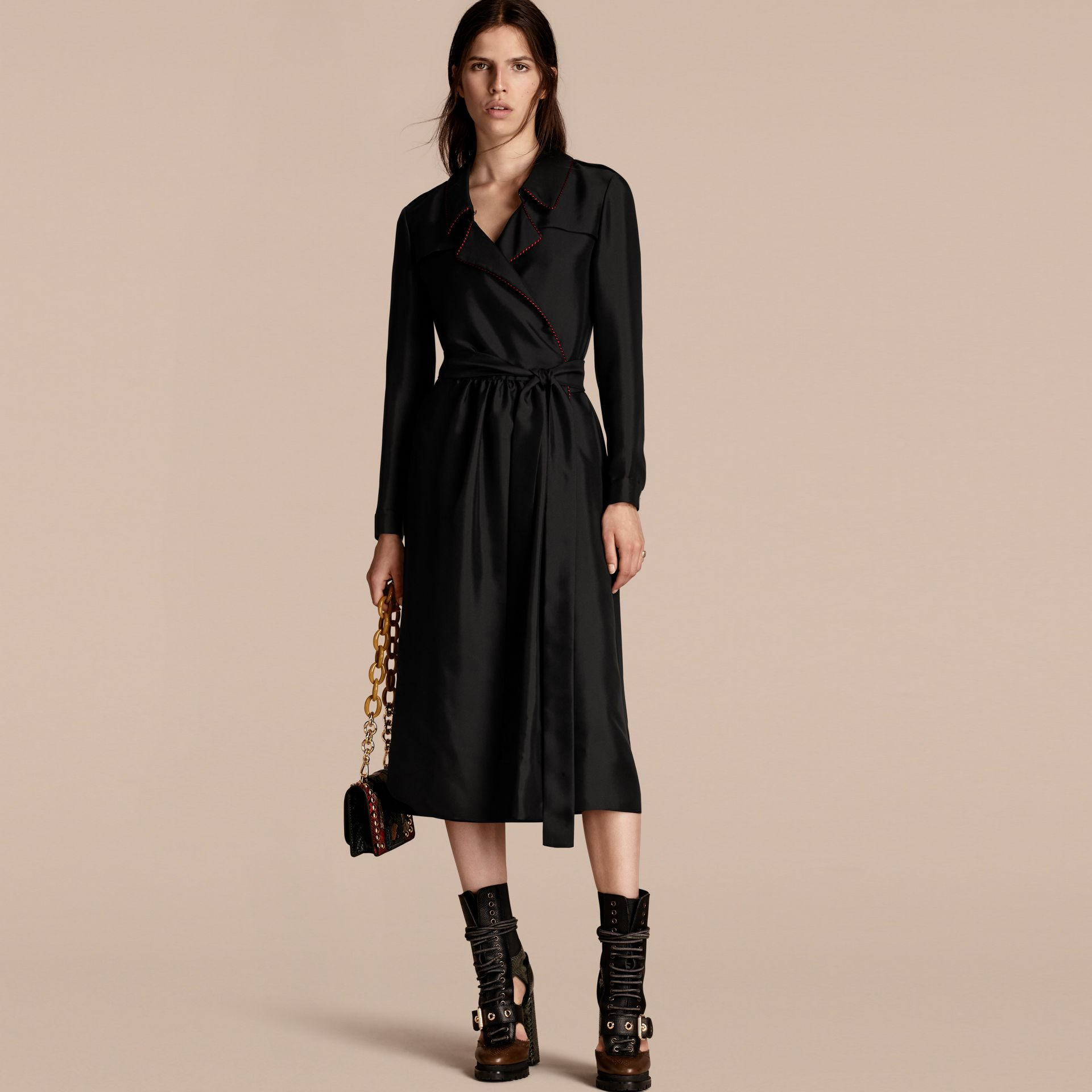 Black Silk Wrap Trench Dress with Military Piping - gallery image 1