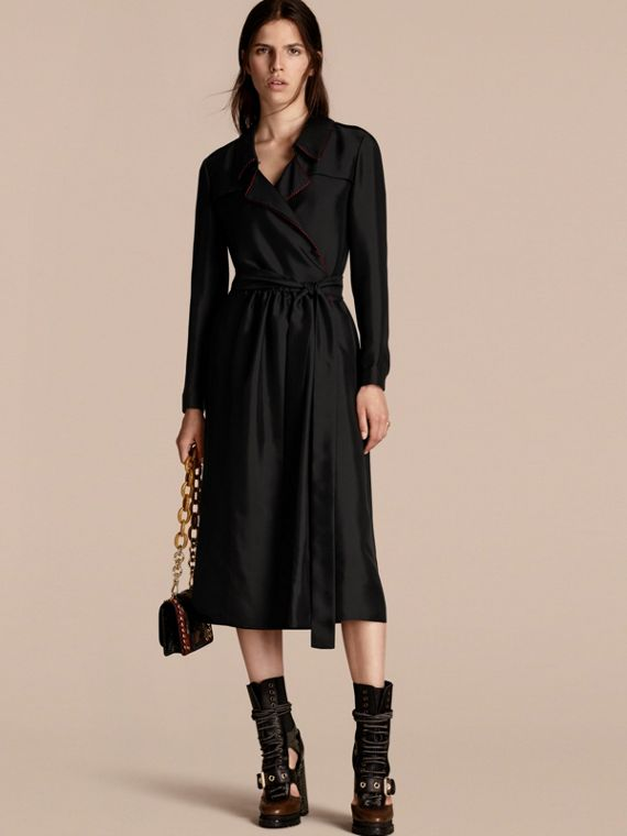 Silk Wrap Trench Dress with Military Piping