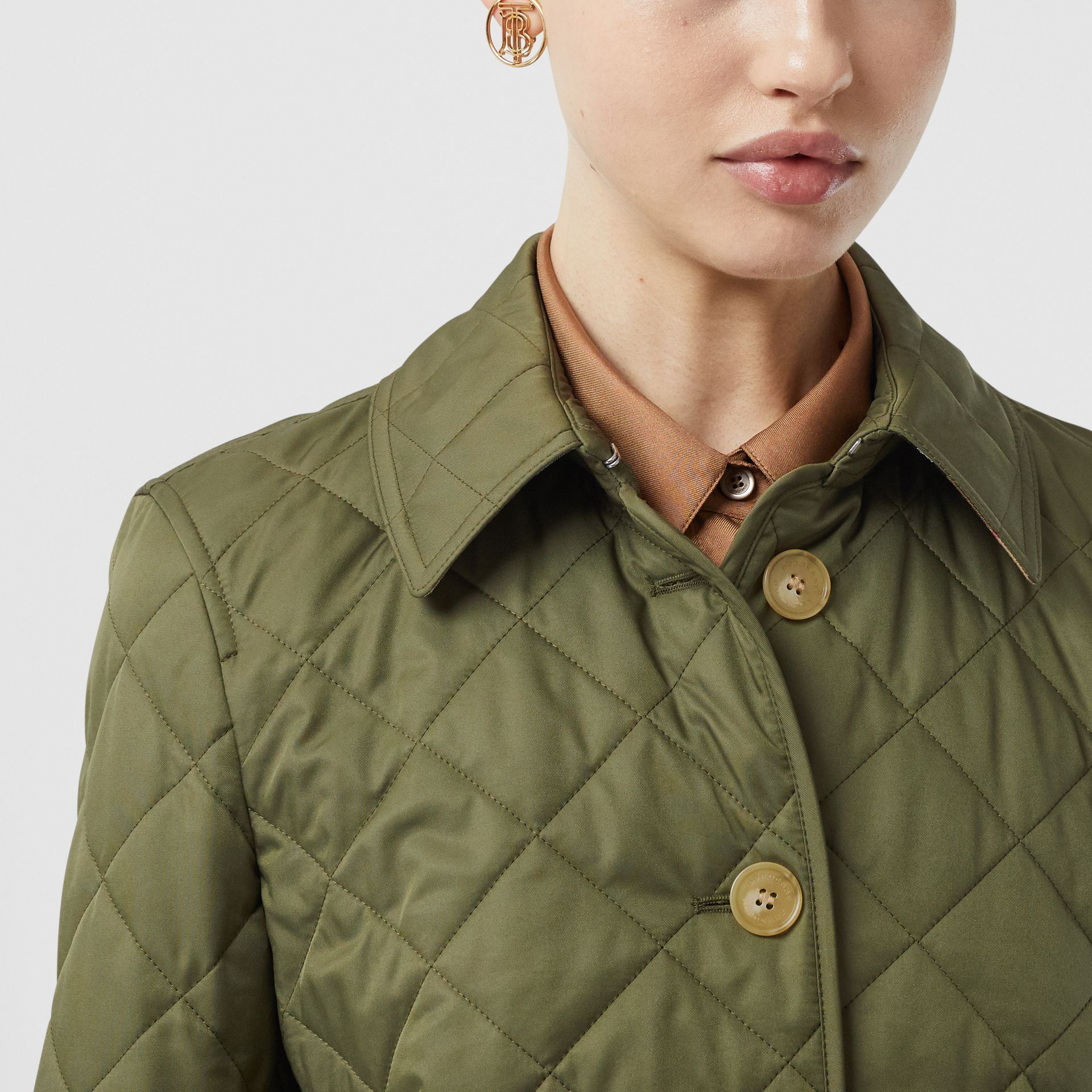 Diamond Quilted Jacket in Olive Green - Women | Burberry - gallery image 1