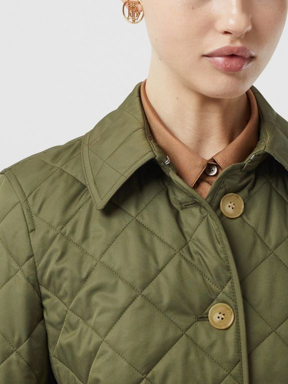 Diamond Quilted Jacket in Olive Green - Women | Burberry - cell image 1