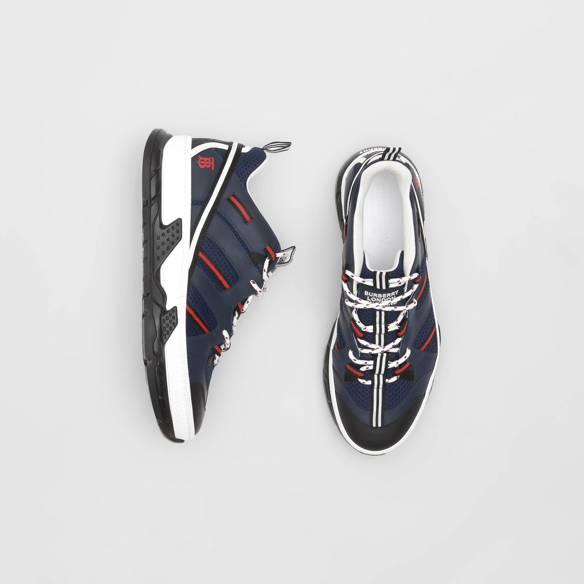Leather and Mesh Union Sneakers in Navy - Men | Burberry - gallery image 0