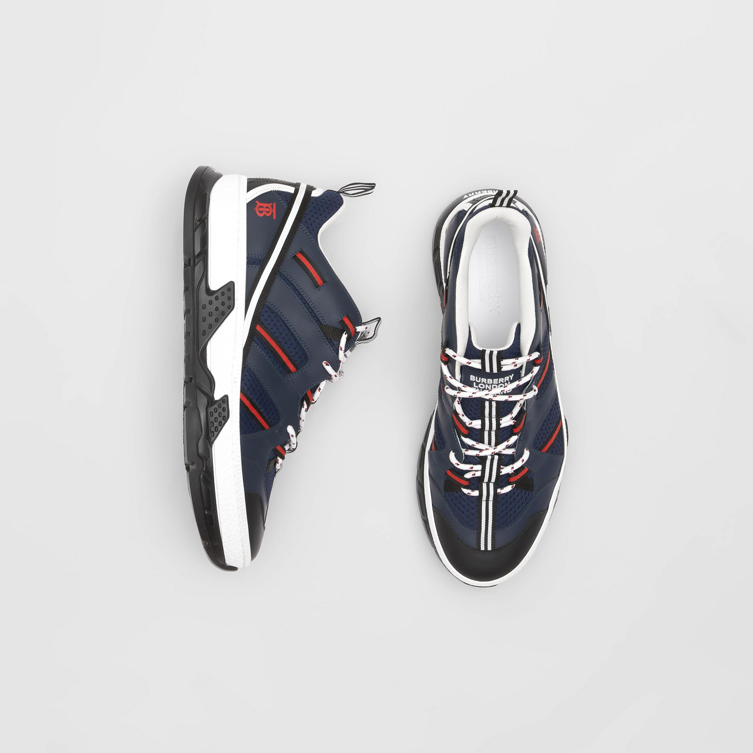 Leather and Mesh Union Sneakers in Navy - Men | Burberry - 1