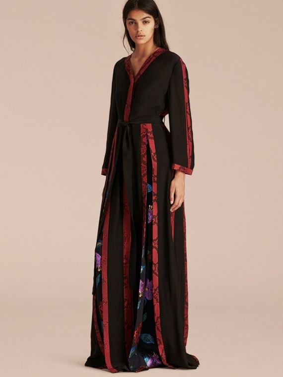 Floral Fil Coupé Trimmed Silk Wrap Gown
