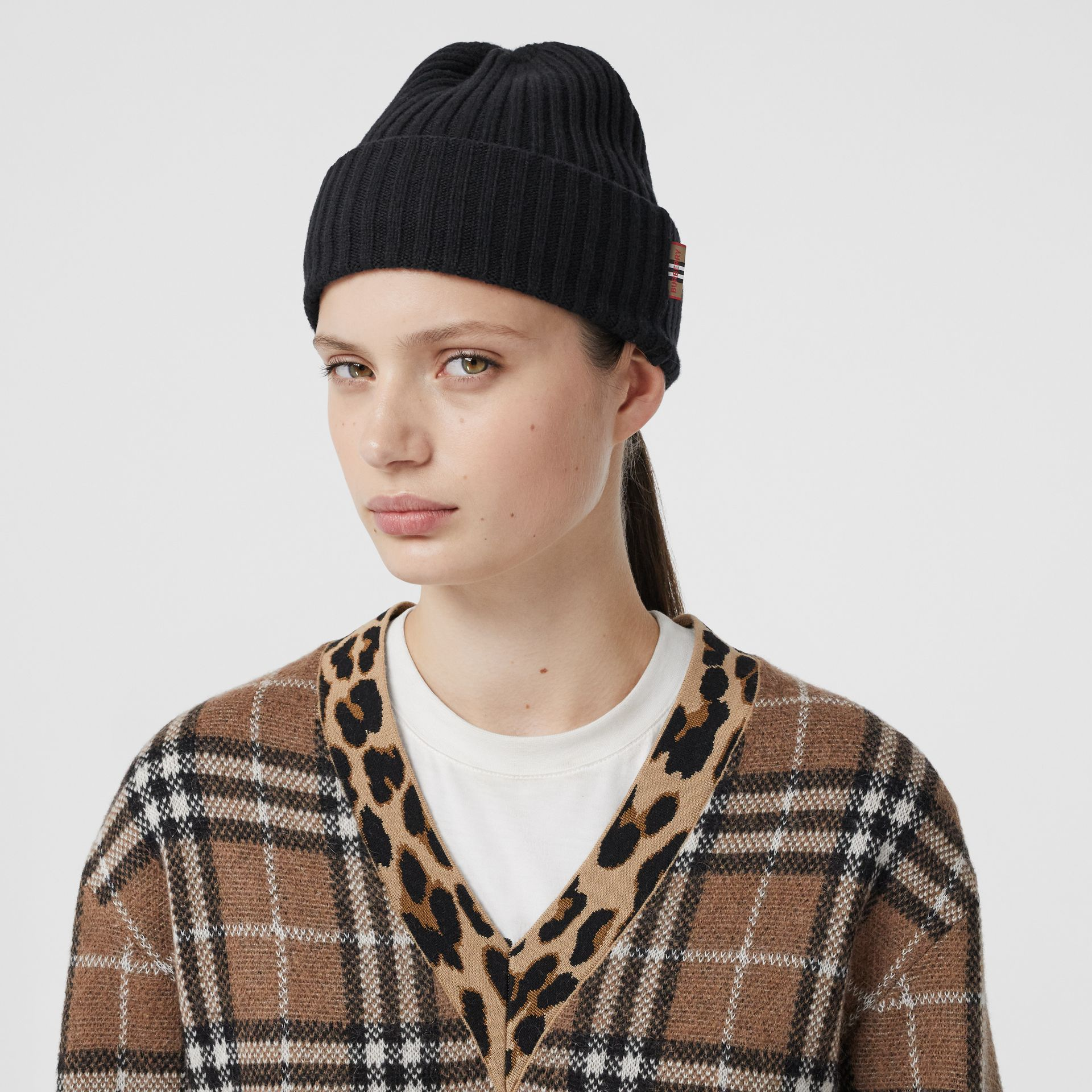 Icon Stripe Trim Rib Knit Cashmere Beanie in Black | Burberry - gallery image 2