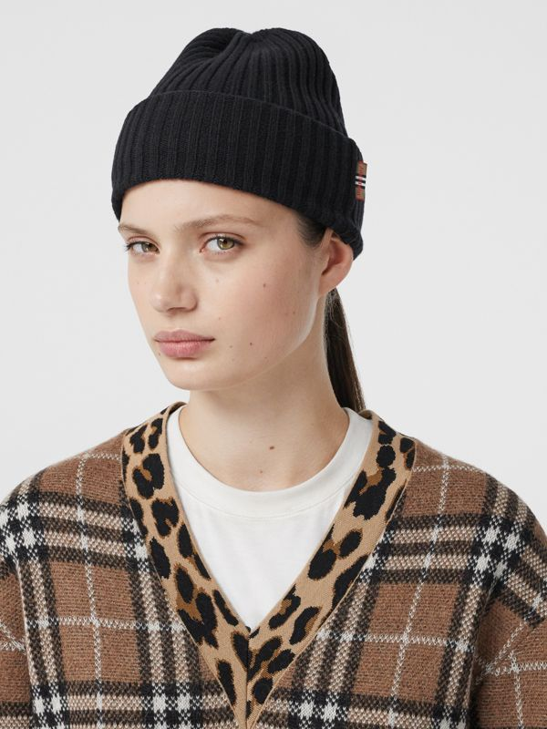 Icon Stripe Trim Rib Knit Cashmere Beanie in Black | Burberry - cell image 2