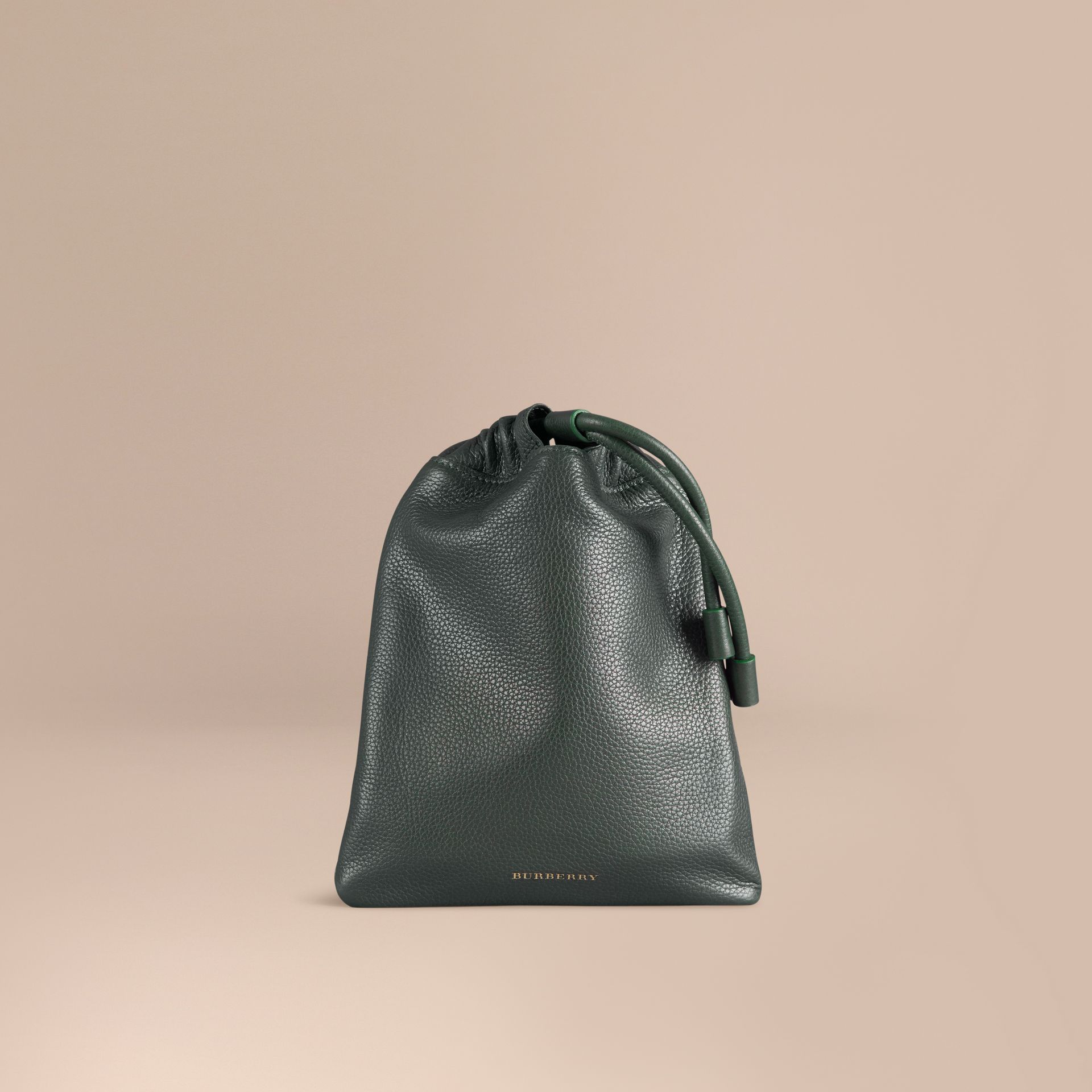 Dark forest green Grainy Leather Drawstring Pouch Dark Forest Green - gallery image 1