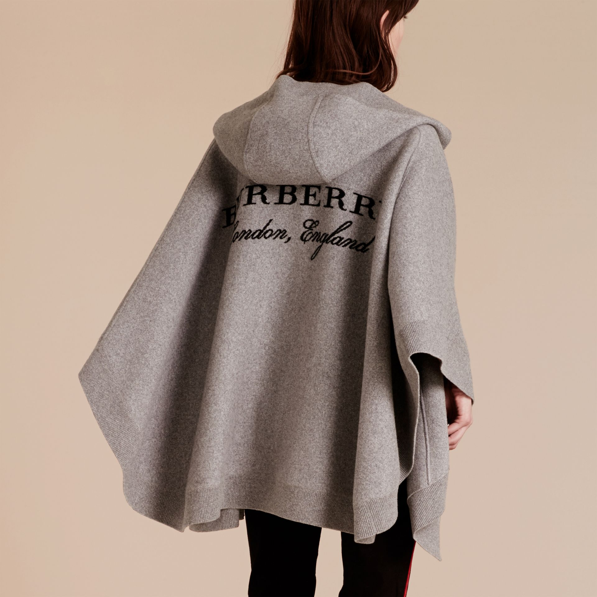 Wool Cashmere Blend Hooded Poncho in Mid Grey Melange - gallery image 1