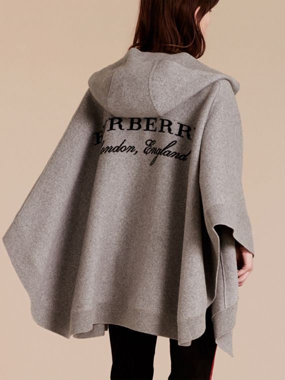 Wool Cashmere Blend Hooded Poncho in Mid Grey Melange