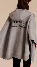 Wool Cashmere Blend Hooded Poncho