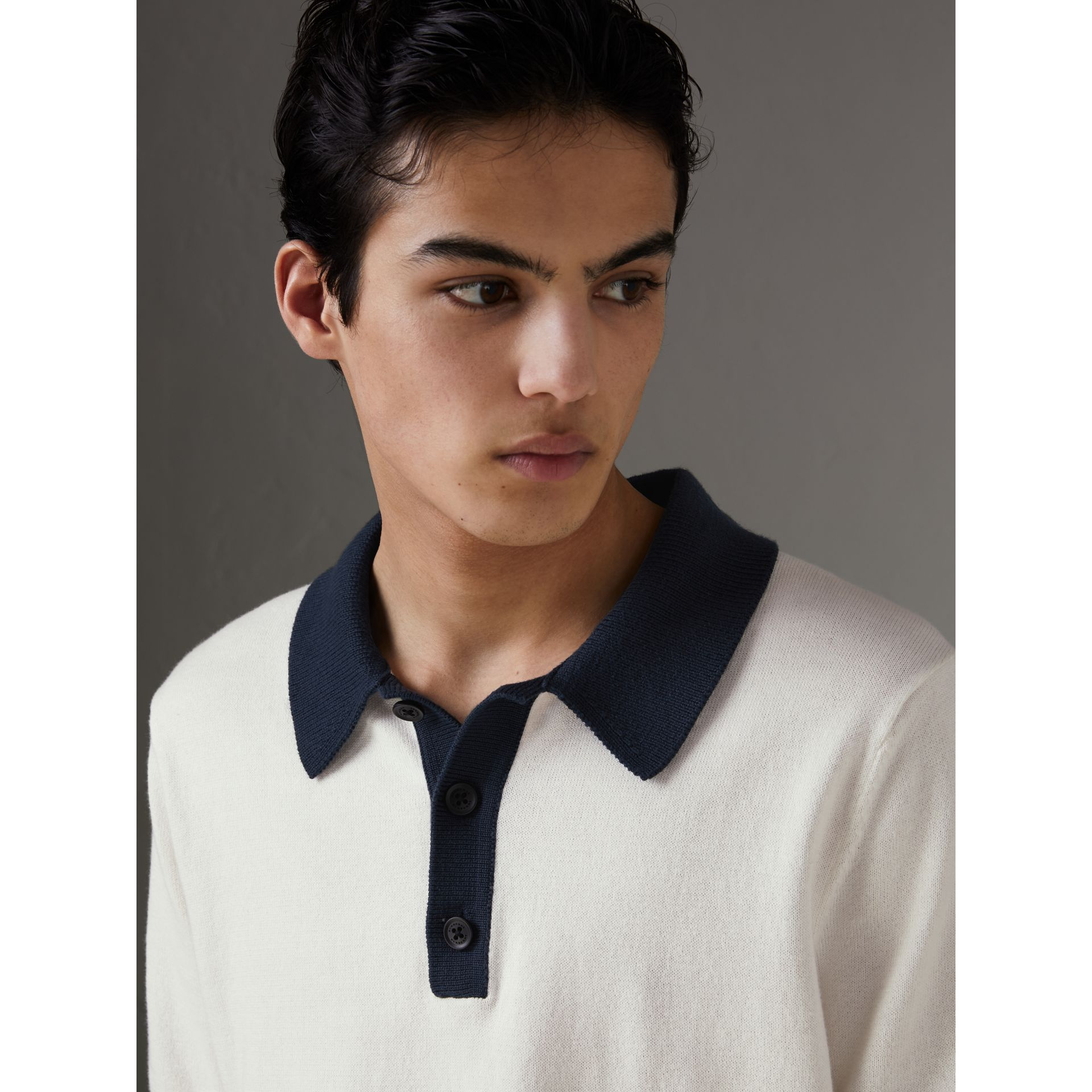 Two-tone Knitted Cotton Polo Shirt in Natural White - Men | Burberry Australia - gallery image 1