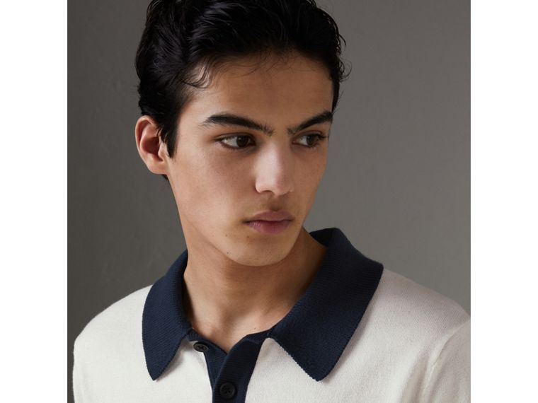 Two-tone Knitted Cotton Polo Shirt in Natural White - Men | Burberry - cell image 1