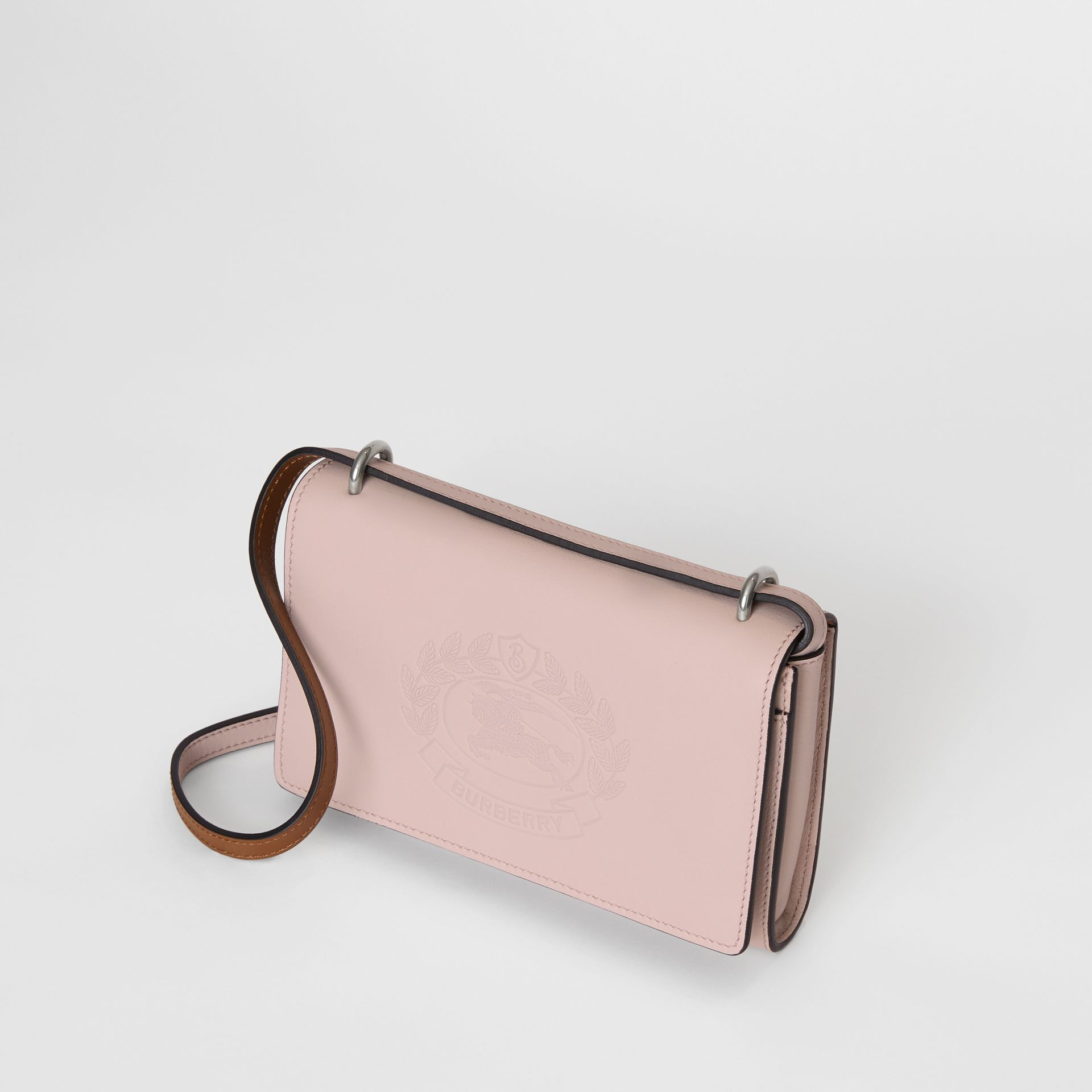 Embossed Crest Leather Wallet with Detachable Strap in Chalk Pink - Women | Burberry - gallery image 4