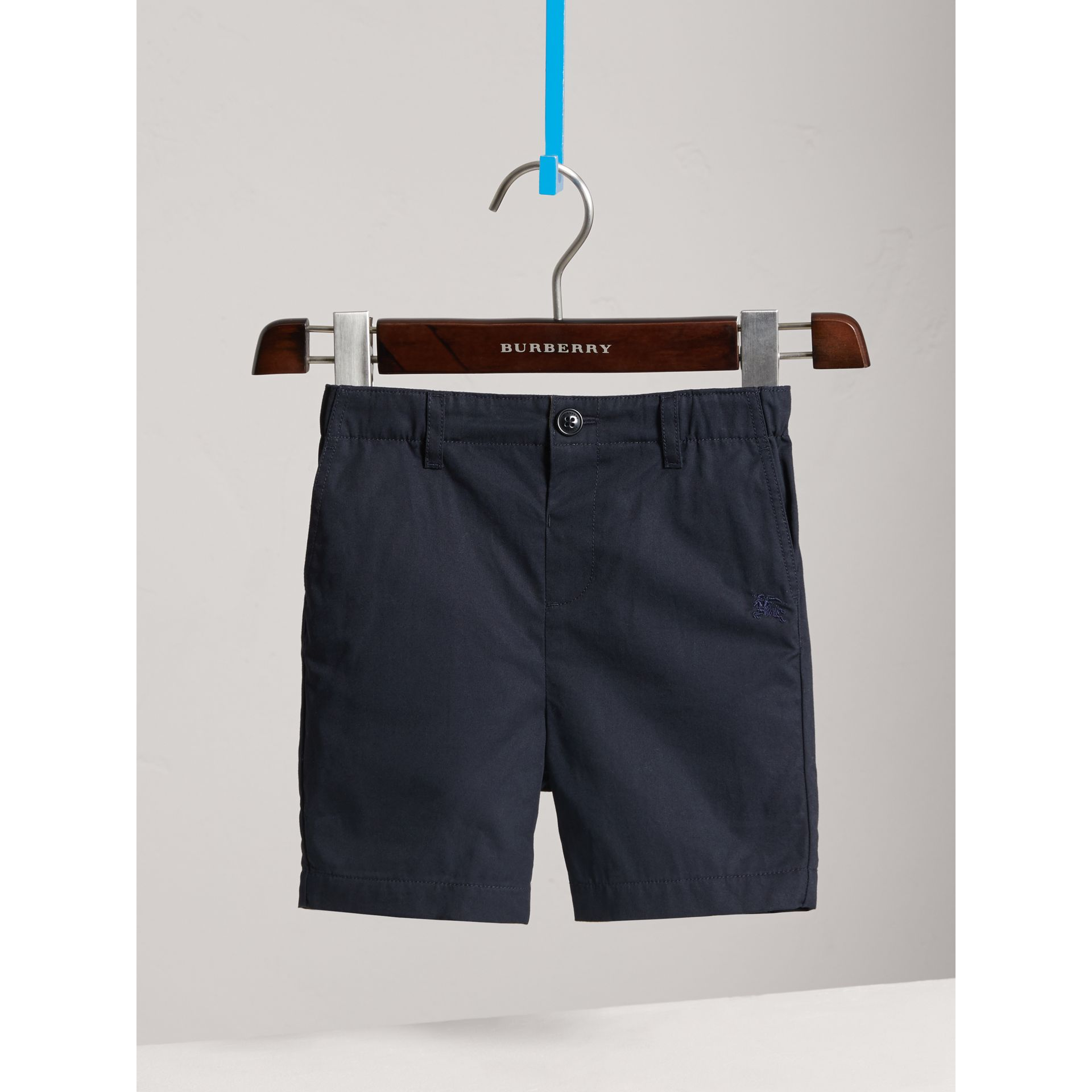 Check Detail Cotton Chino Shorts in Ink - Boy | Burberry - gallery image 3