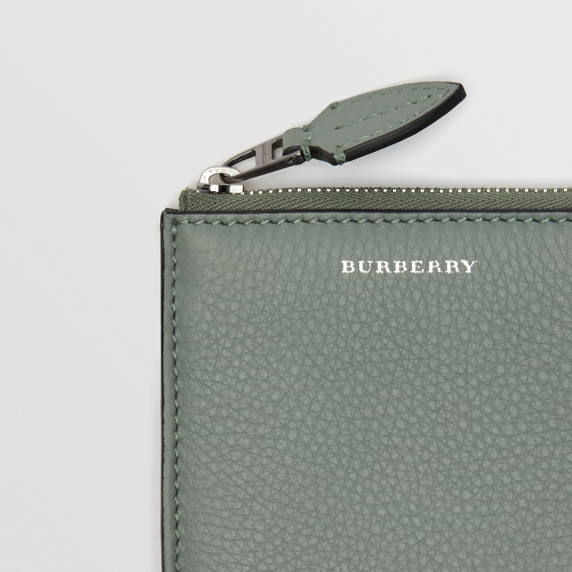 Grainy Leather Square Ziparound Wallet in Grey Blue - Women | Burberry - gallery image 1