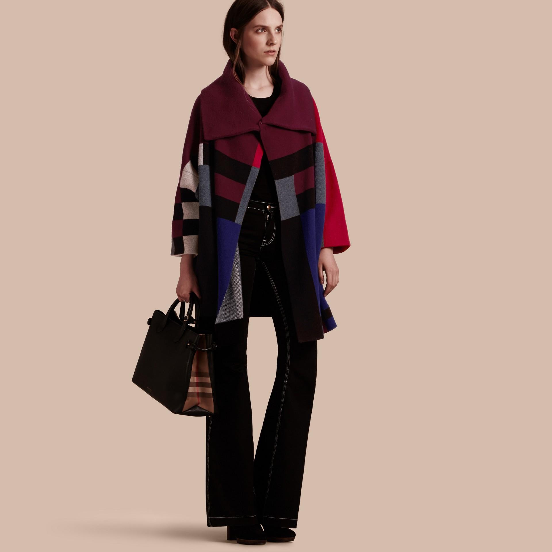 Nero Cappotto cardigan in lana e cashmere con motivo tartan - immagine della galleria 1