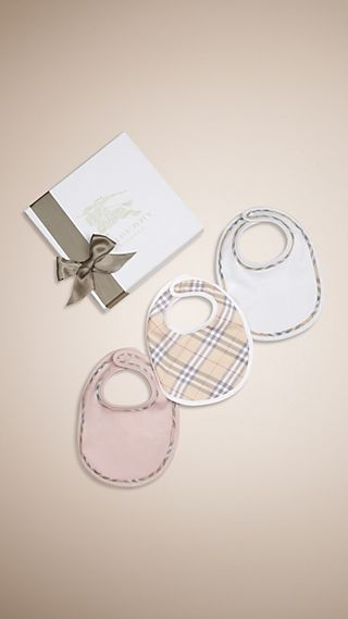 Check Cotton Three-Piece Baby Bib Gift Set