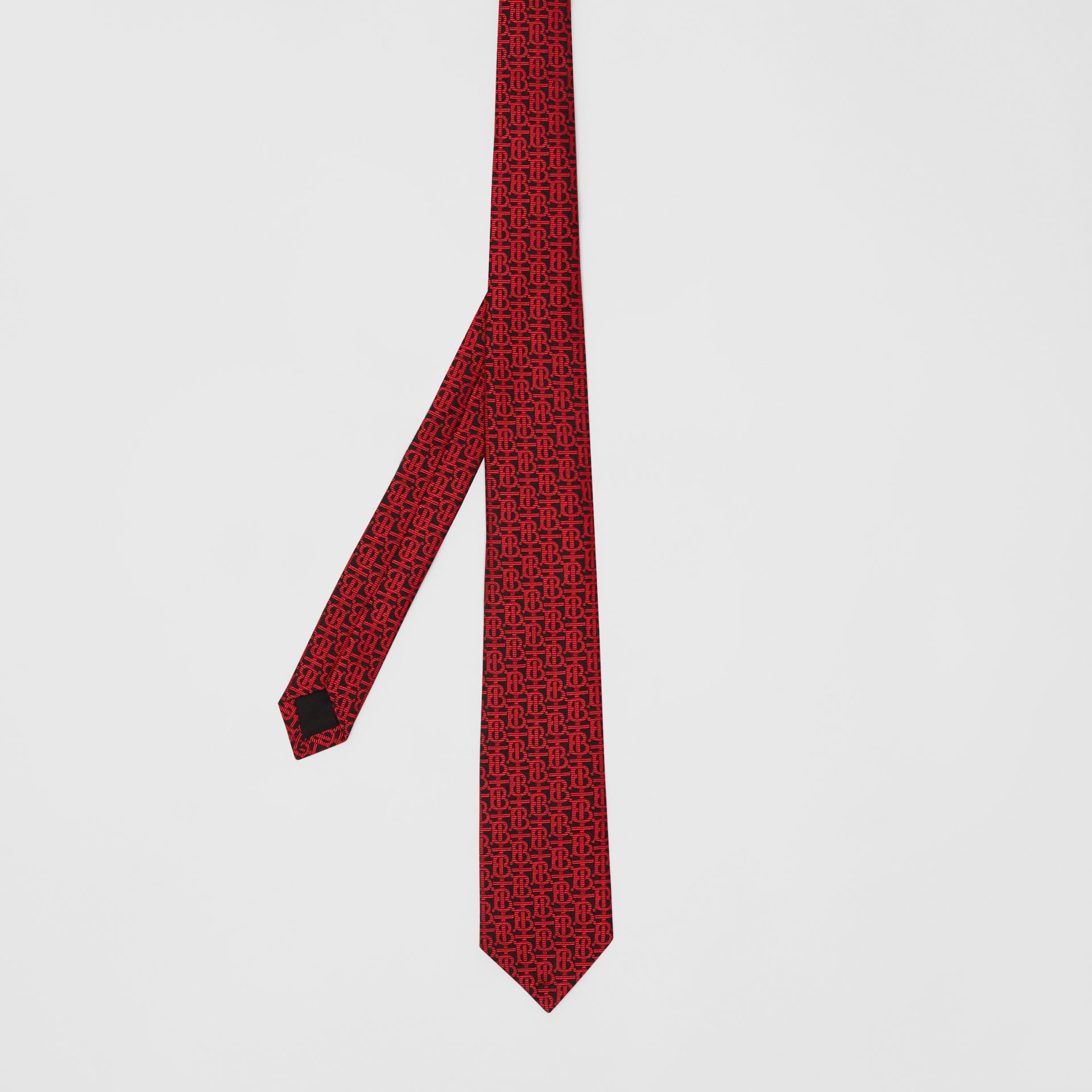 Classic Cut Monogram Silk Jacquard Tie in Bright Red - Men | Burberry - gallery image 4