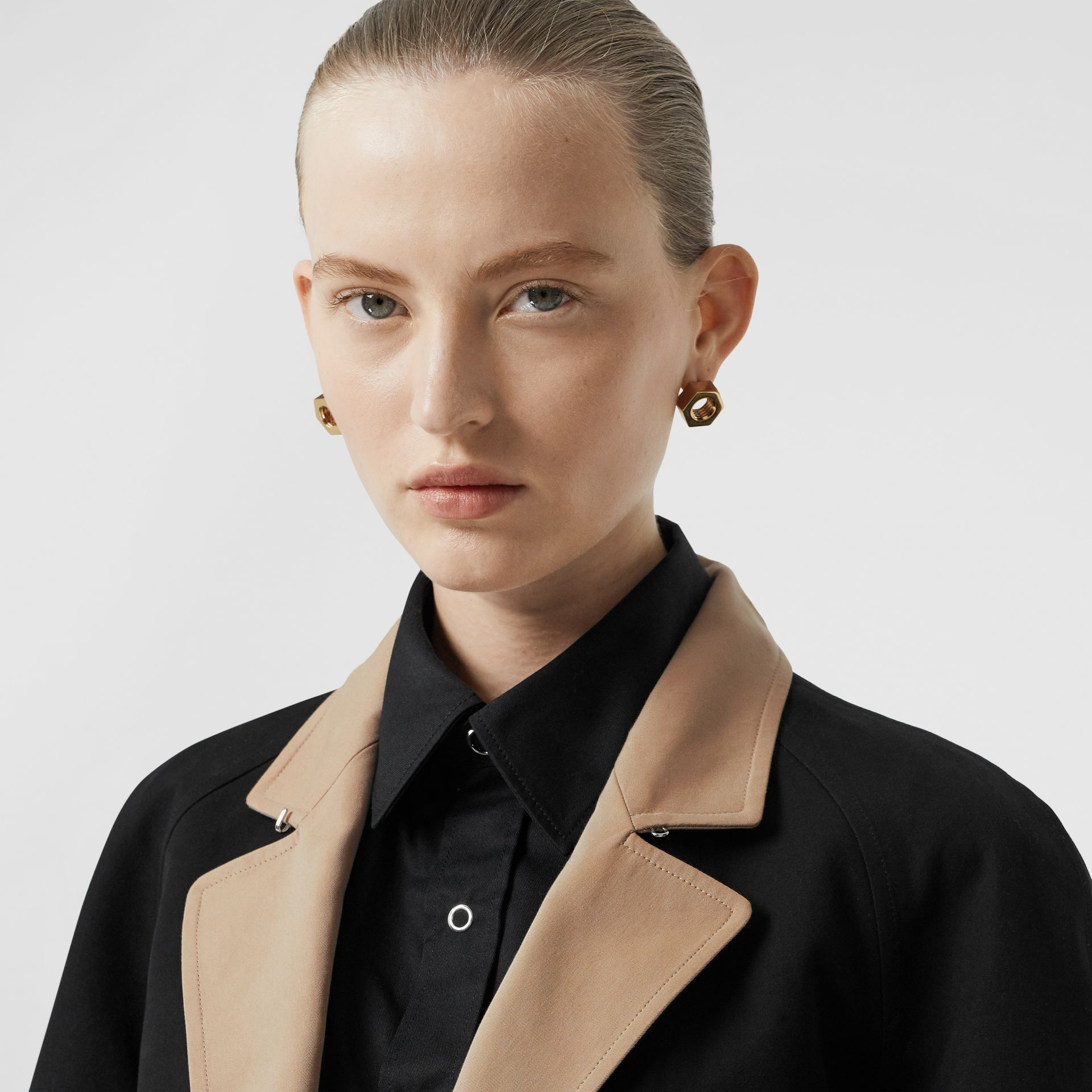 Two-tone Tropical Gabardine Belted Car Coat in Black/honey - Women | Burberry - gallery image 4
