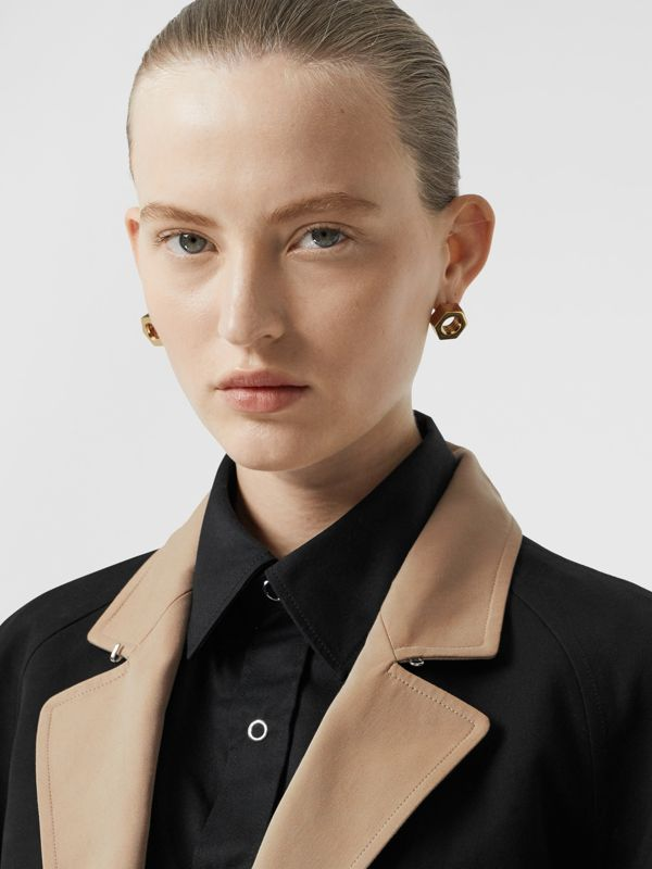 Two-tone Tropical Gabardine Belted Car Coat in Black/honey - Women | Burberry - cell image 3