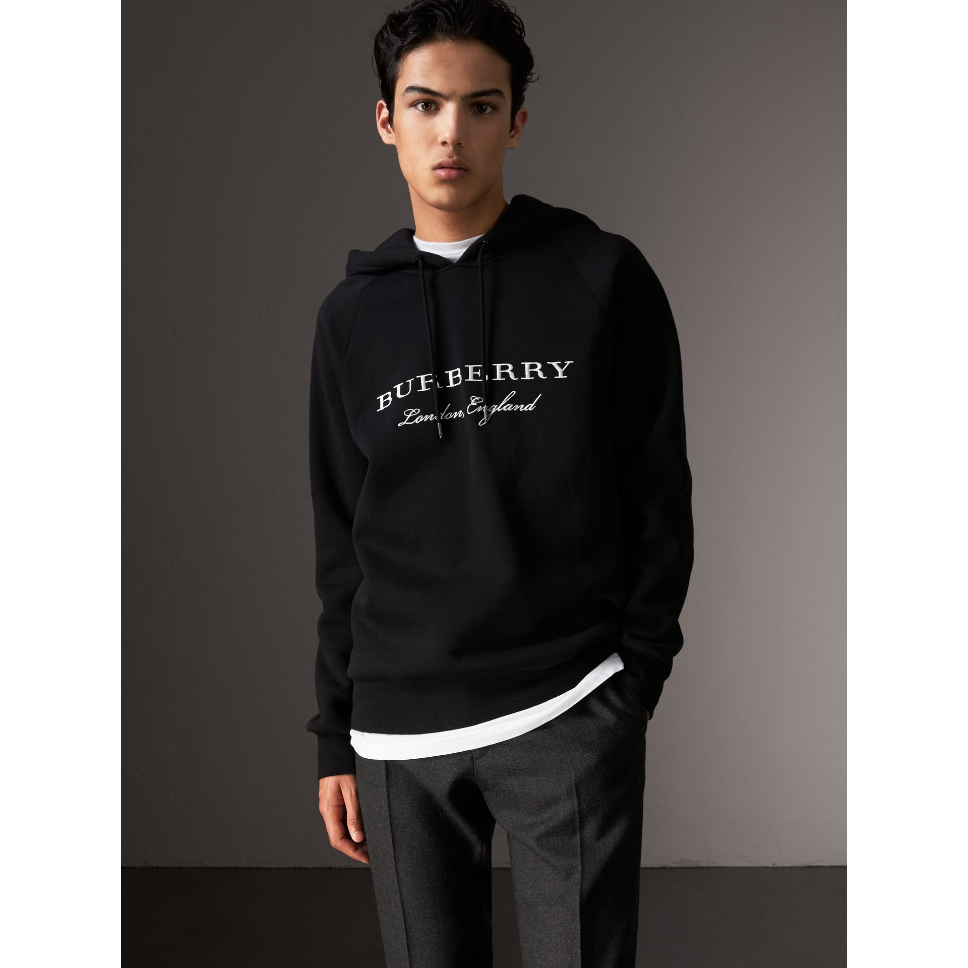 Embroidered Hooded Sweatshirt in Black - Men | Burberry Singapore - gallery image 1