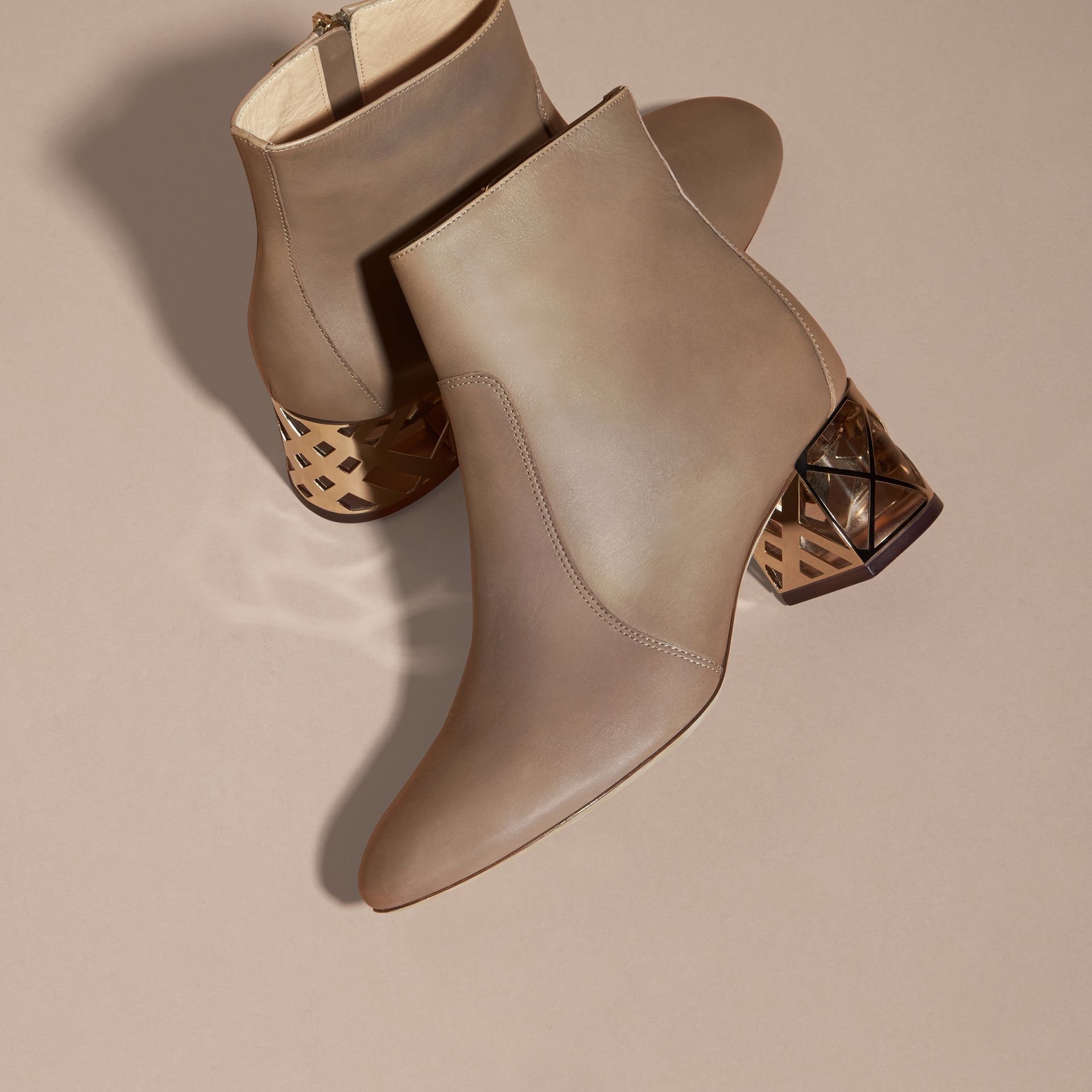 Mink grey Check Heel Leather Ankle Boots Mink Grey - gallery image 3