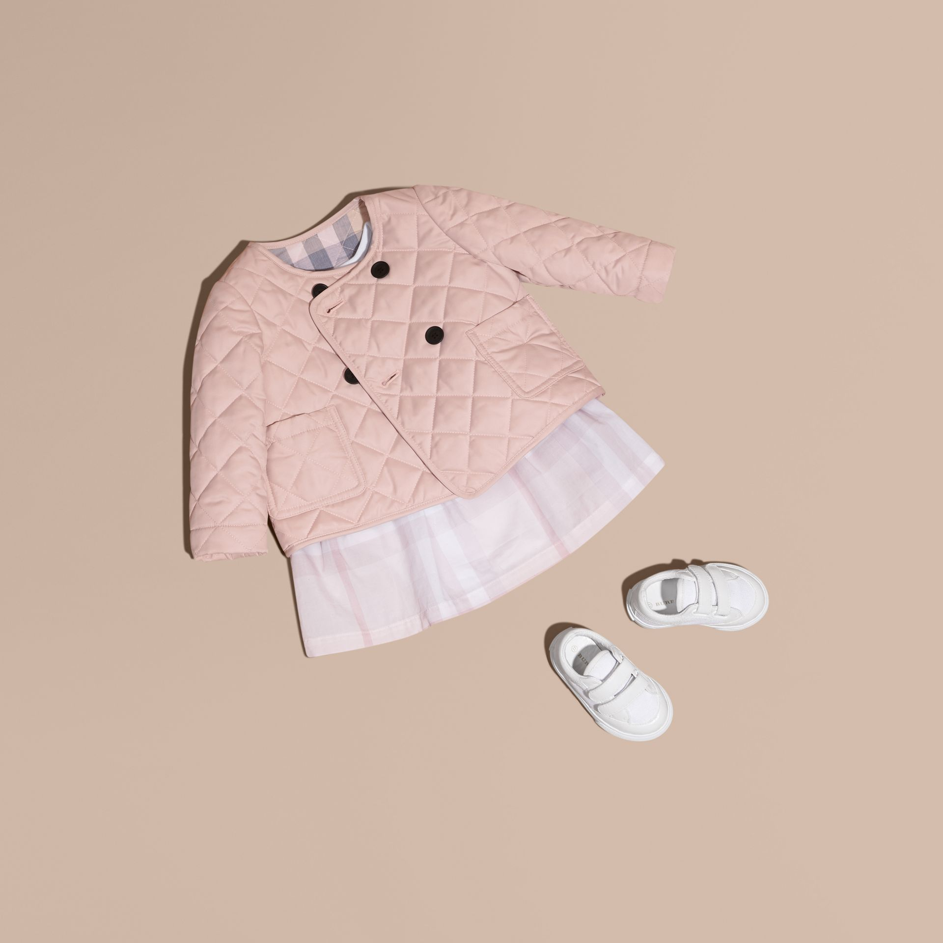 Powder pink Collarless Diamond Quilted Jacket - gallery image 1