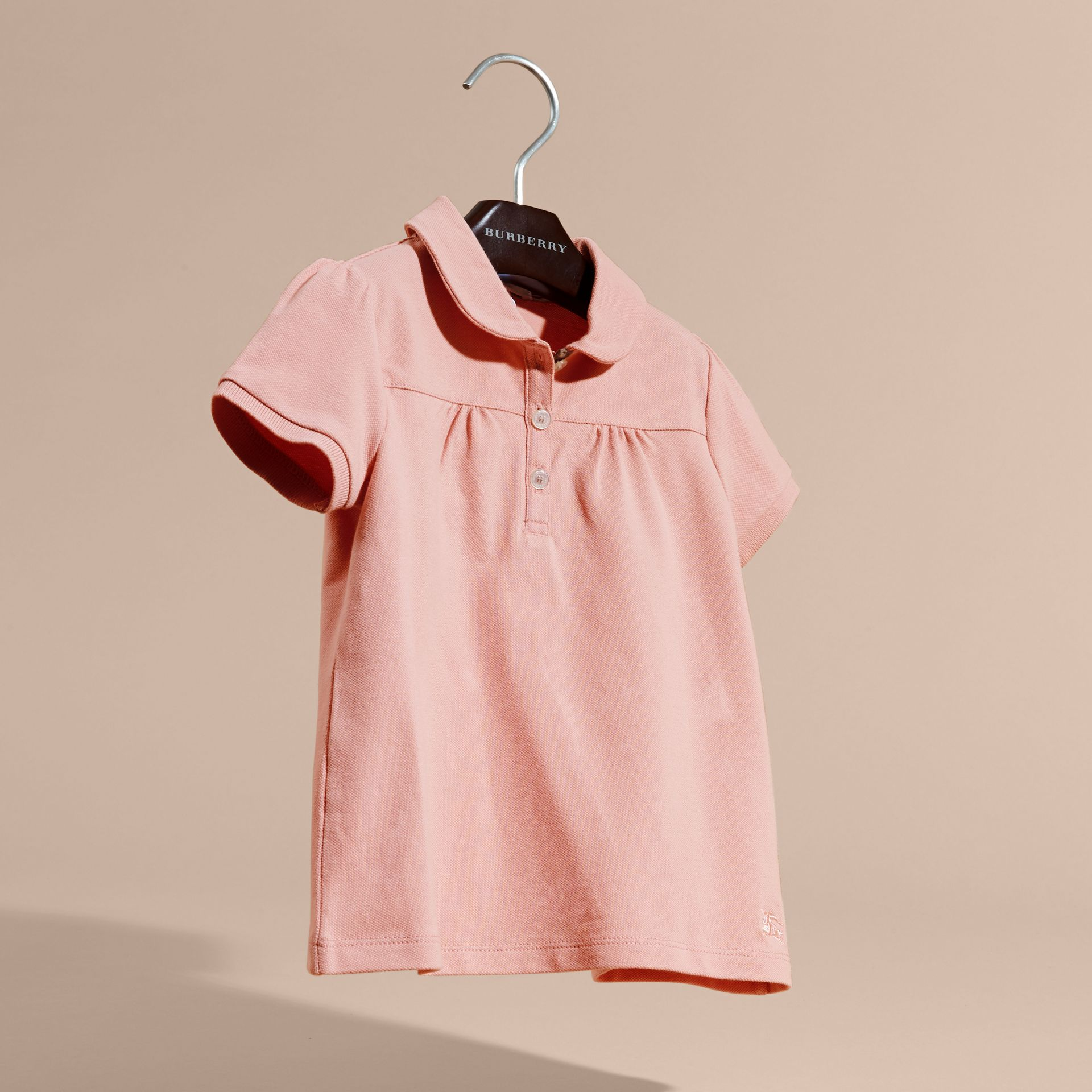 Ruched Detail Stretch Cotton Polo Shirt Ash Rose - gallery image 3