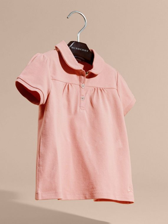 Ruched Detail Stretch Cotton Polo Shirt Ash Rose - cell image 2