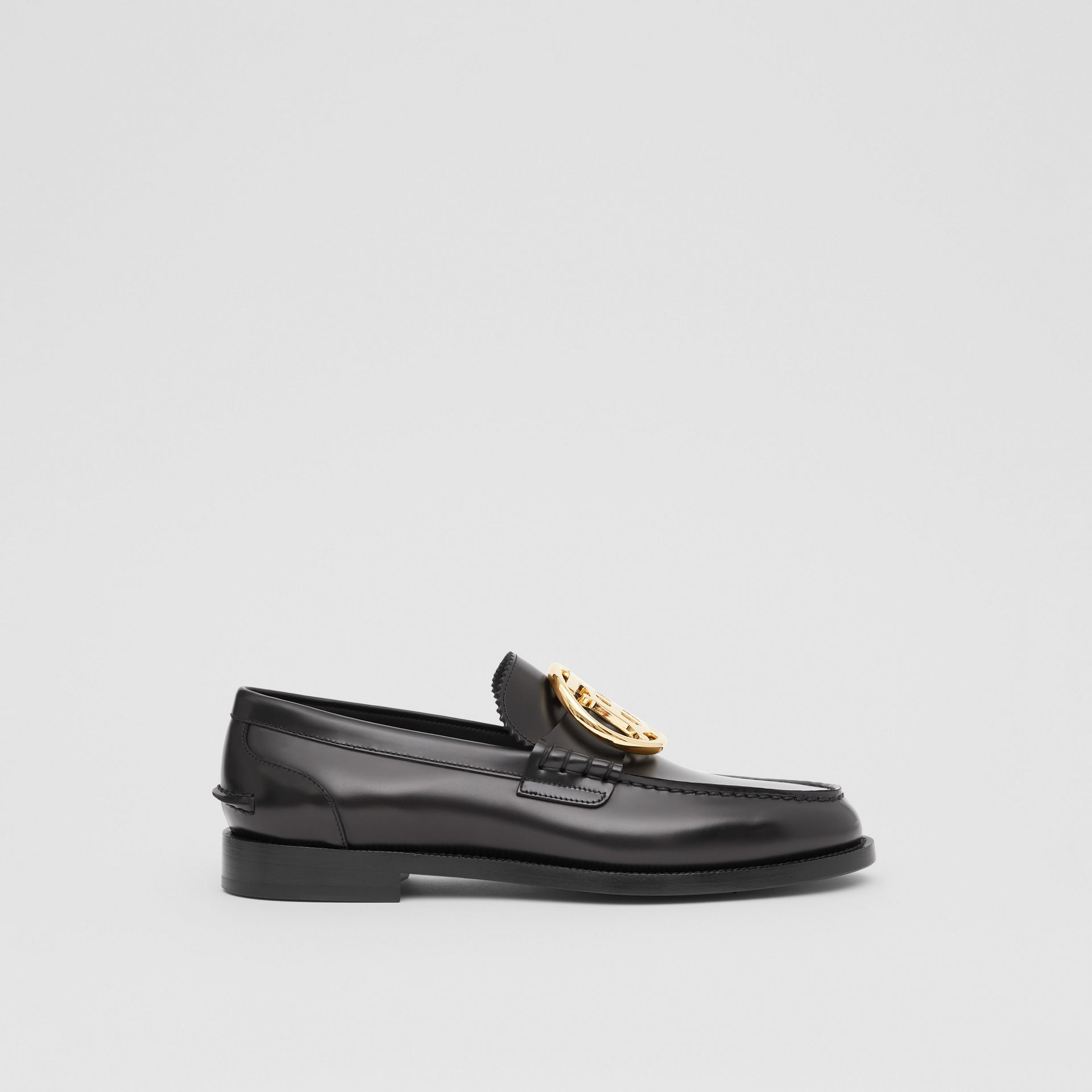 Monogram Motif Leather Loafers in Black - Men | Burberry - gallery image 4