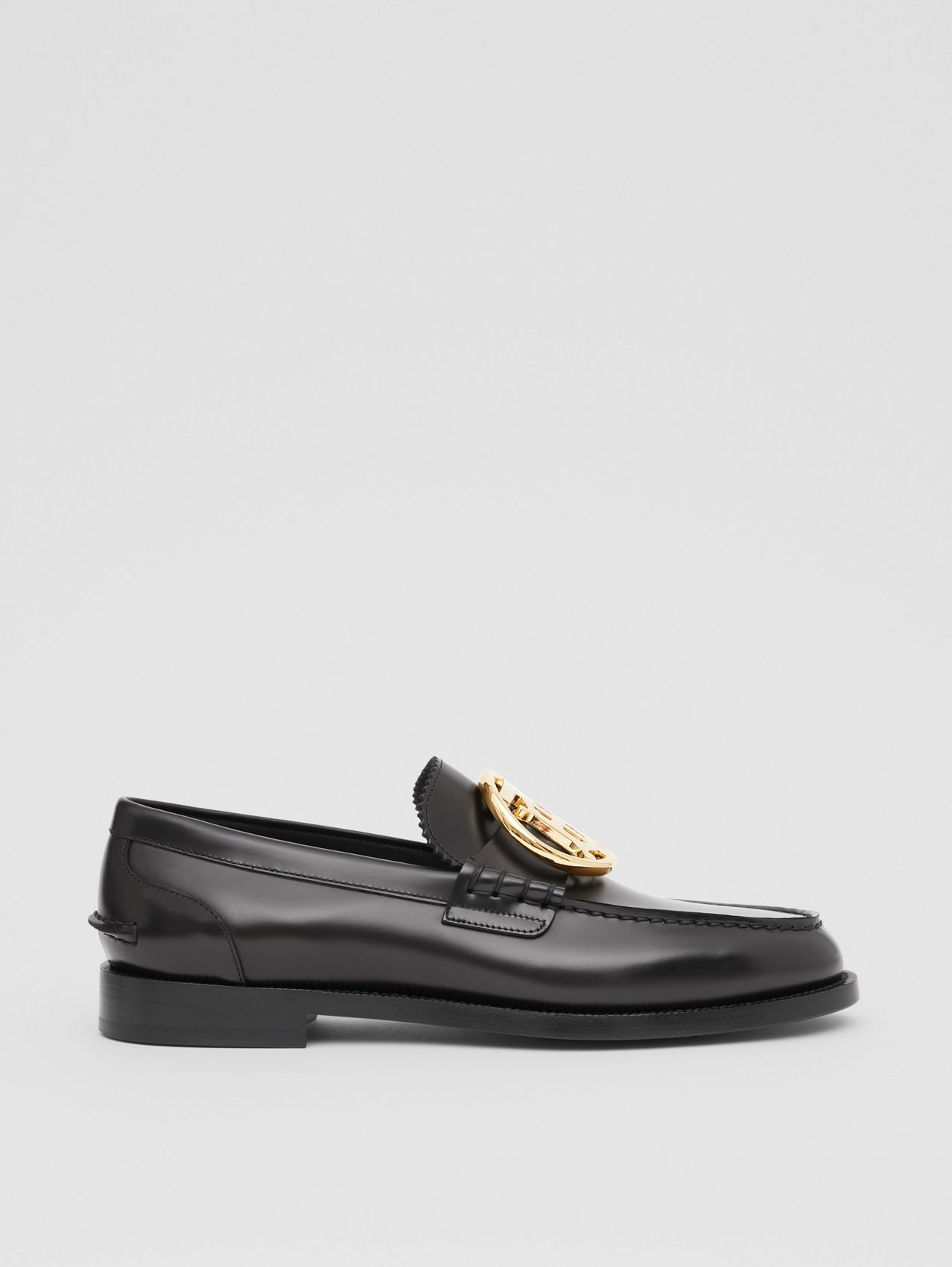 Monogram Motif Leather Loafers (Black)