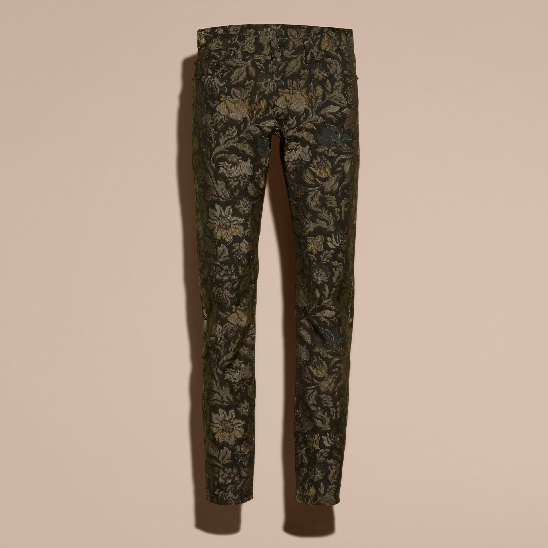 Sage Slim Fit Floral Jacquard Jeans Sage - gallery image 4