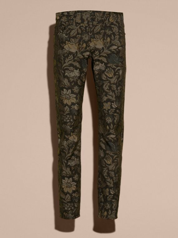 Slim Fit Floral Jacquard Jeans in Sage - cell image 3