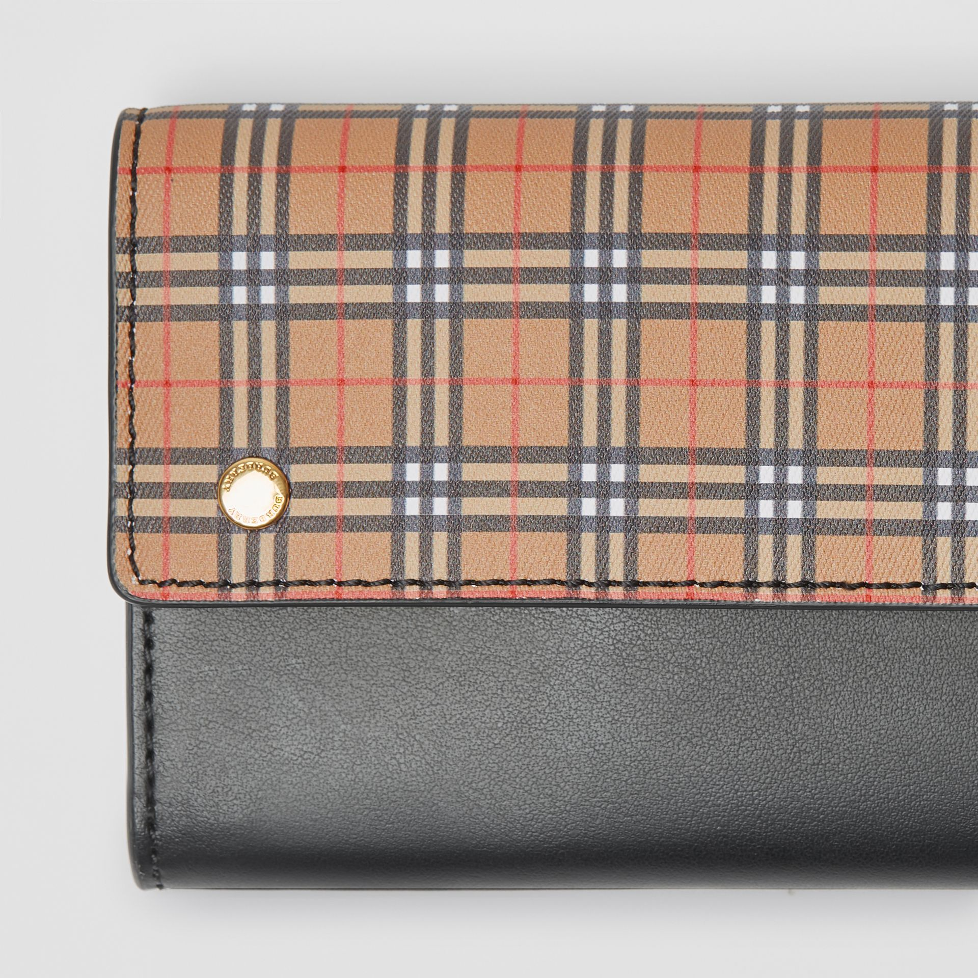 Small Scale Check and Leather Continental Wallet in Antique Yellow - Women | Burberry - gallery image 1