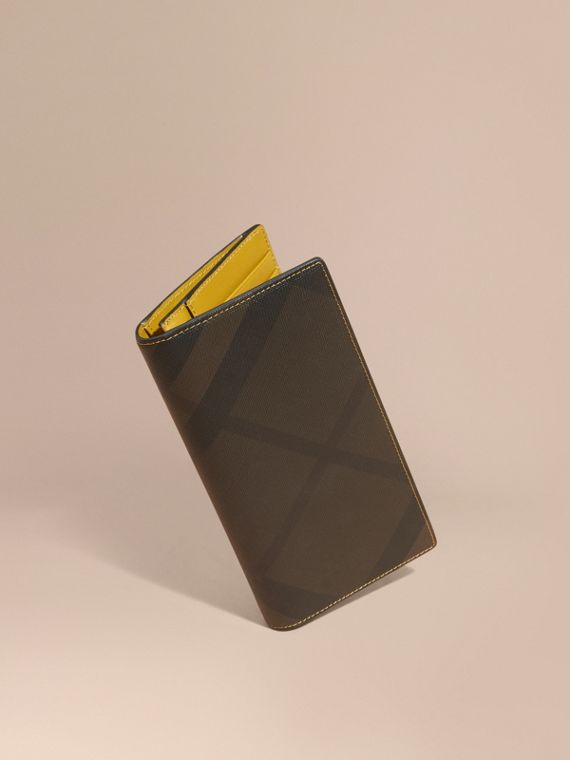 London Check and Leather Continental Wallet Larch Yellow