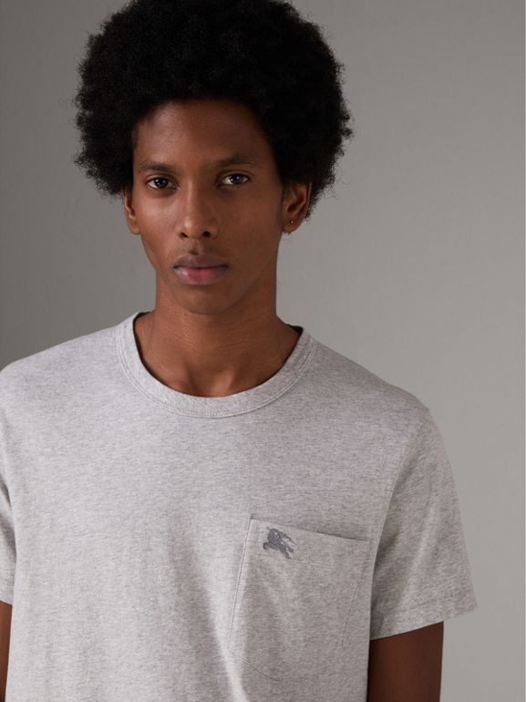 Pocket Detail Cotton Jersey T-shirt in Pale Grey Melange - Men | Burberry - cell image 1