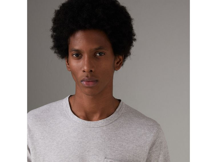 Pocket Detail Cotton Jersey T-shirt in Pale Grey Melange - Men | Burberry Hong Kong - cell image 1