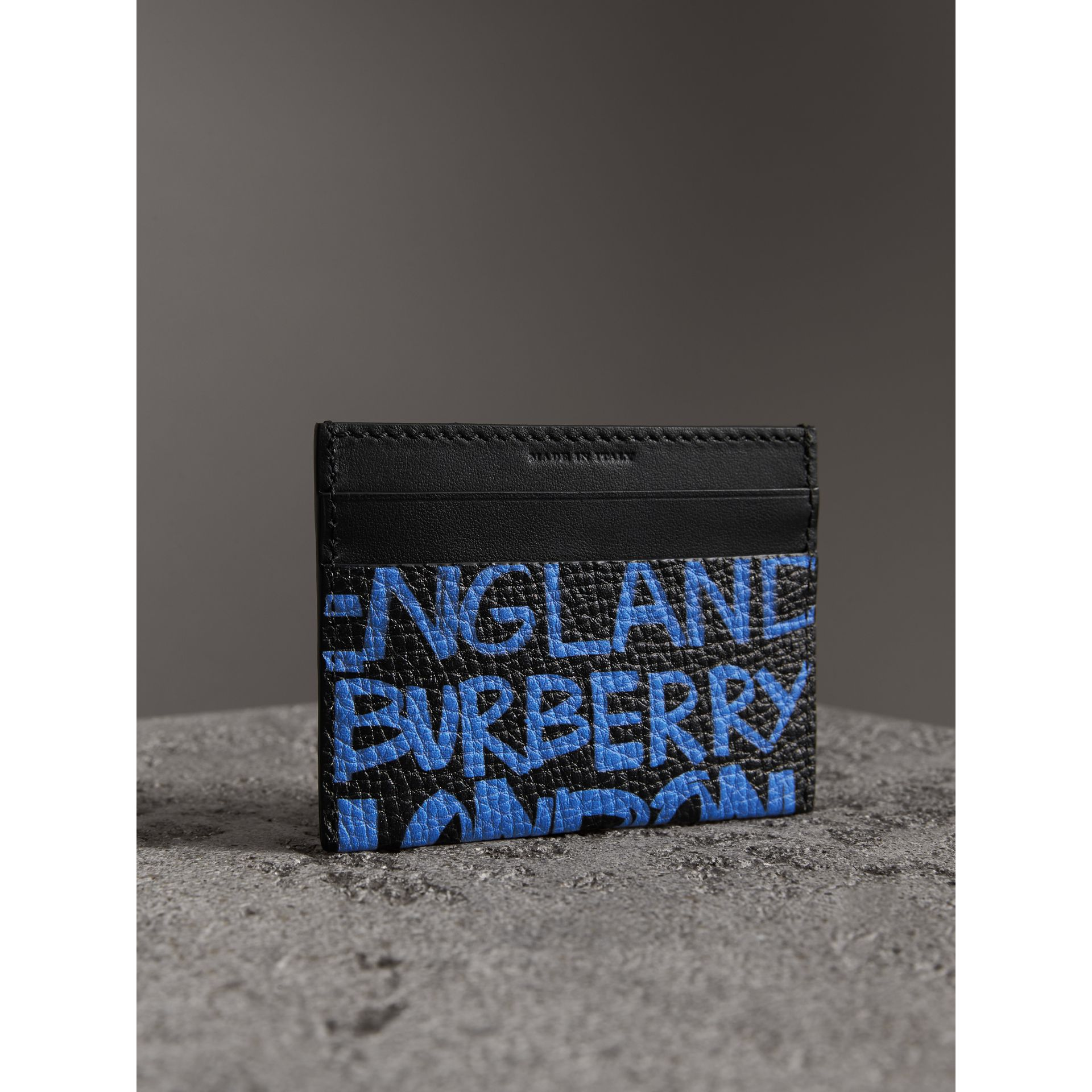Graffiti Print Leather Card Case in Blue Black - Women | Burberry Australia - gallery image 2
