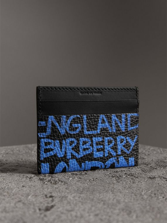Graffiti Print Leather Card Case in Blue Black - Women | Burberry - cell image 2
