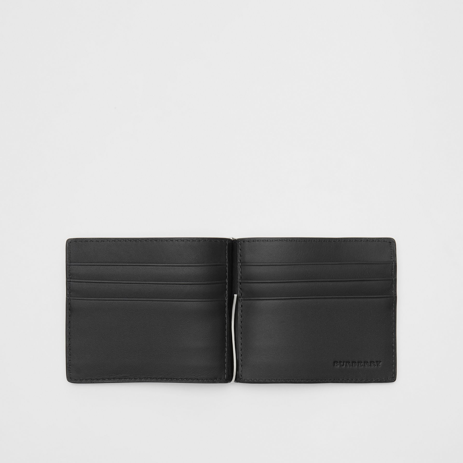 London Check and Leather Money Clip Card Wallet in Charcoal/black - Men | Burberry Canada - gallery image 2