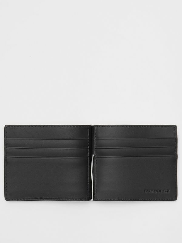 London Check and Leather Money Clip Card Wallet in Charcoal/black - Men | Burberry - cell image 2