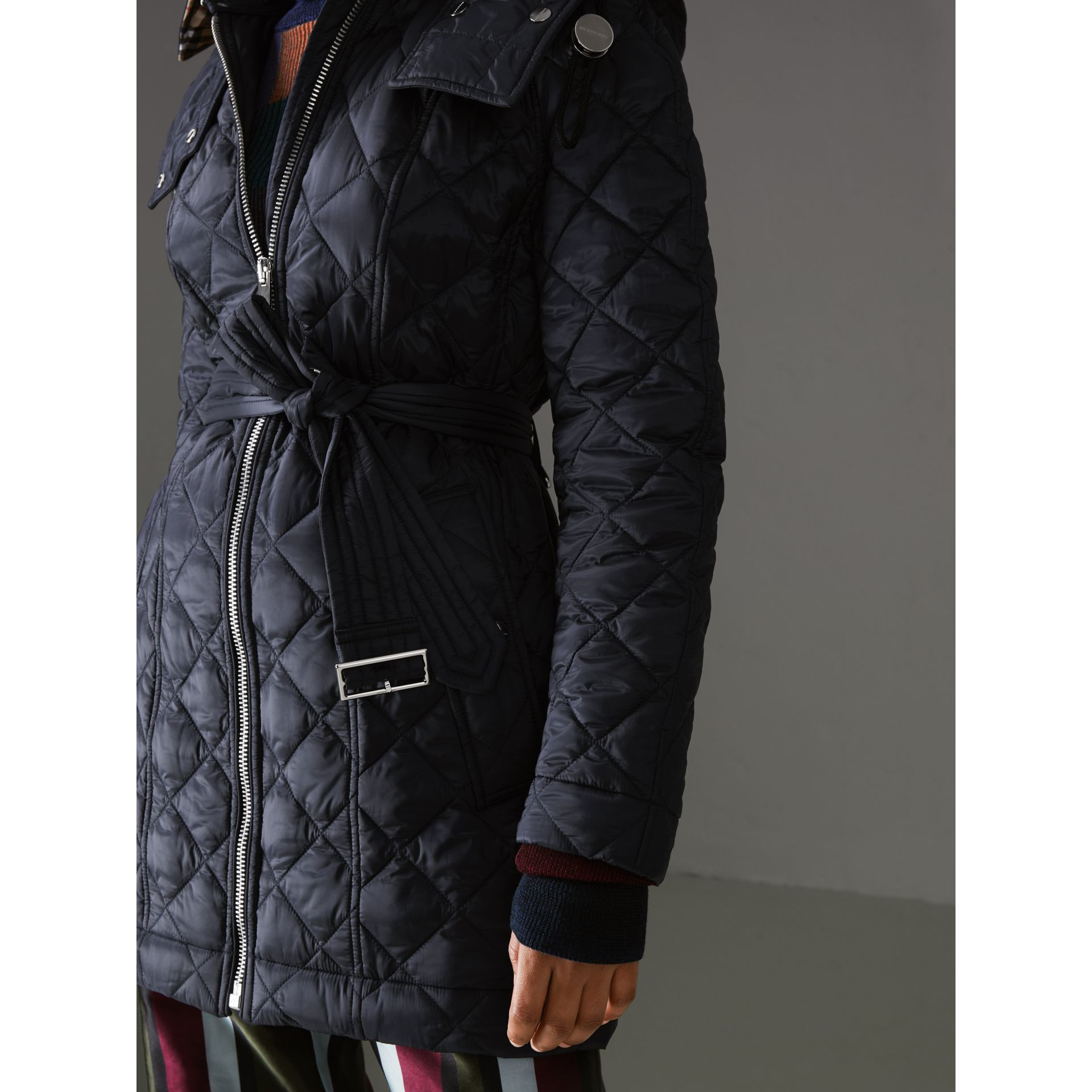 Detachable Hood Lightweight Diamond Quilted Coat in Ink - Women | Burberry - gallery image 1