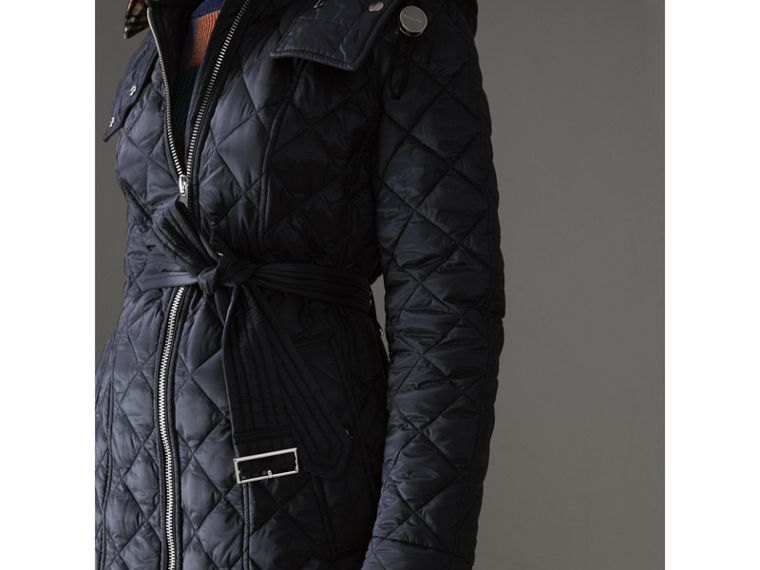 Detachable Hood Lightweight Diamond Quilted Coat in Ink - Women | Burberry - cell image 1
