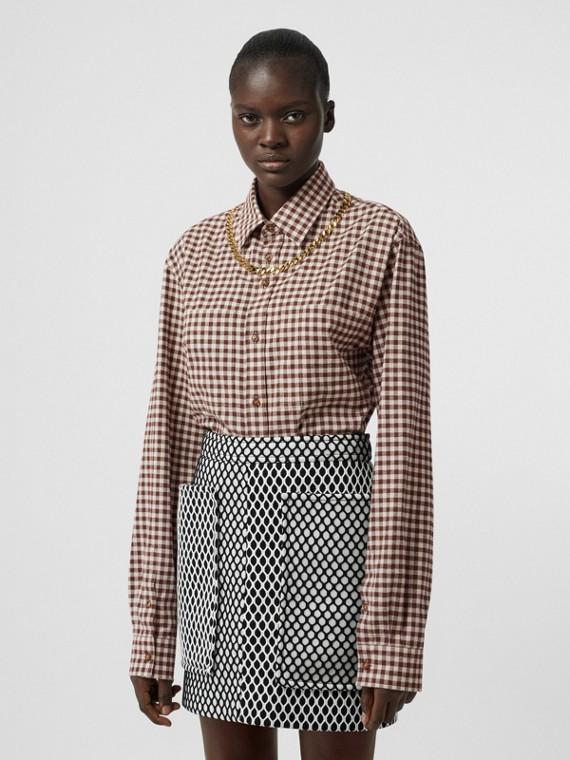 Pocket Detail Mesh and Neoprene Mini Skirt in Black