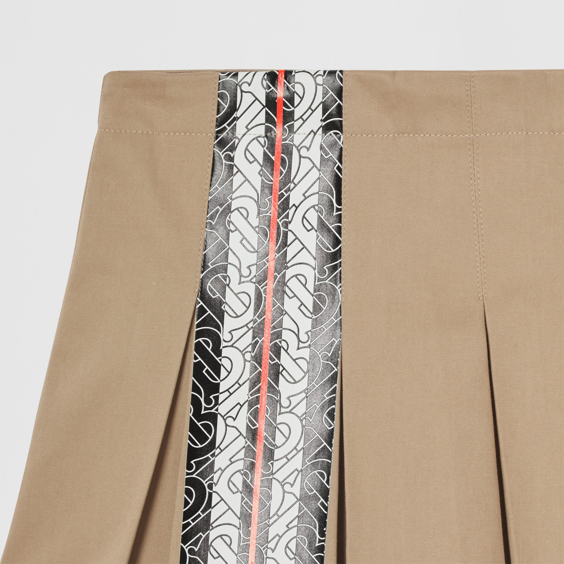 Monogram Stripe Print Cotton Skirt in Honey | Burberry - gallery image 3