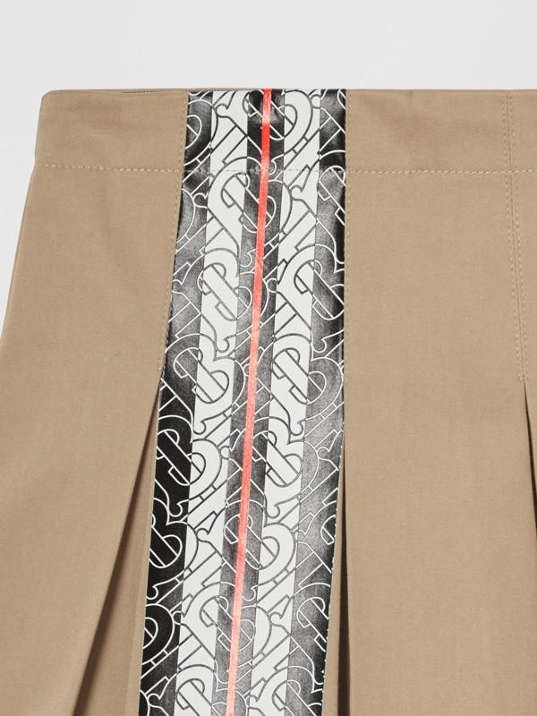 Monogram Stripe Print Cotton Skirt in Honey | Burberry - cell image 3