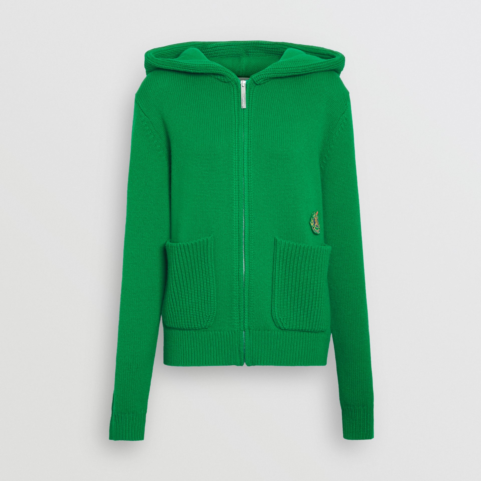 Embroidered Crest Cashmere Hooded Top in Vibrant Green - Women | Burberry Australia - gallery image 3