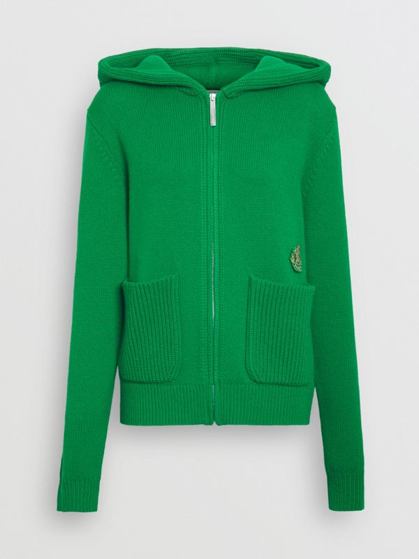 Embroidered Crest Cashmere Hooded Top in Vibrant Green - Women | Burberry - cell image 3