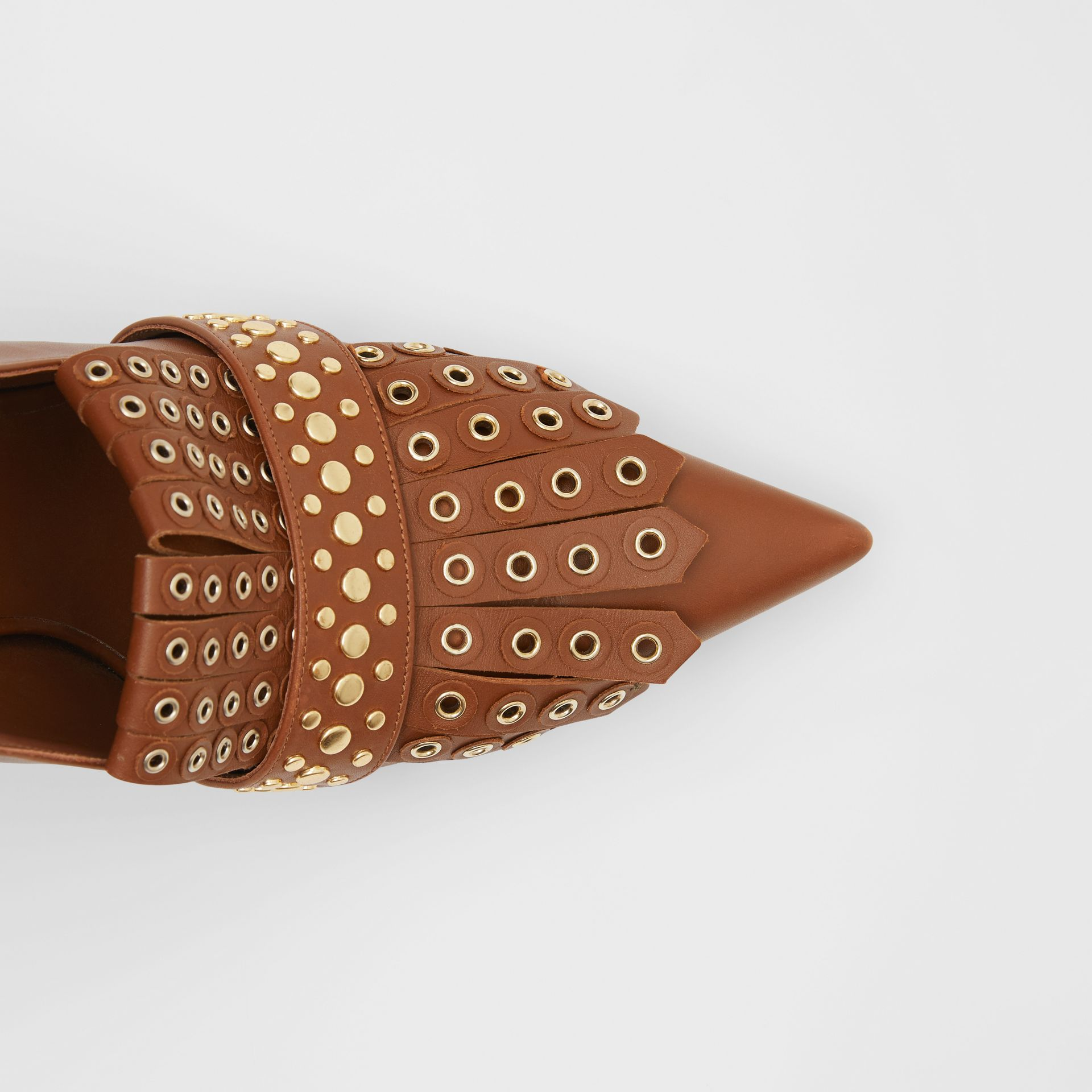 Studded Kiltie Fringe Leather Point-toe Pumps in Tan - Women | Burberry - gallery image 1